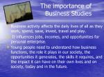 the importance of business studies