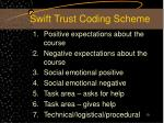 swift trust coding scheme