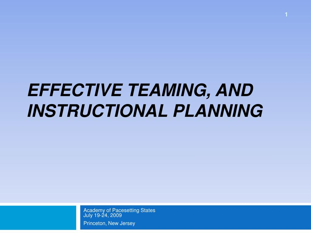 effective teaming and instructional planning l.