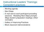 instructional leaders trainings consistent practices