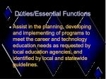 duties essential functions