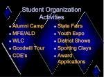 student organization activities