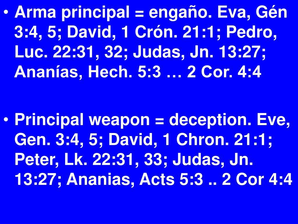 Arma principal = engaño. Eva, Gén 3:4, 5; David, 1 Crón. 21:1; Pedro, Luc. 22:31, 32; Judas, Jn. 13:27; Ananías, Hech. 5:3 … 2 Cor. 4:4