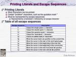 printing literals and escape sequences