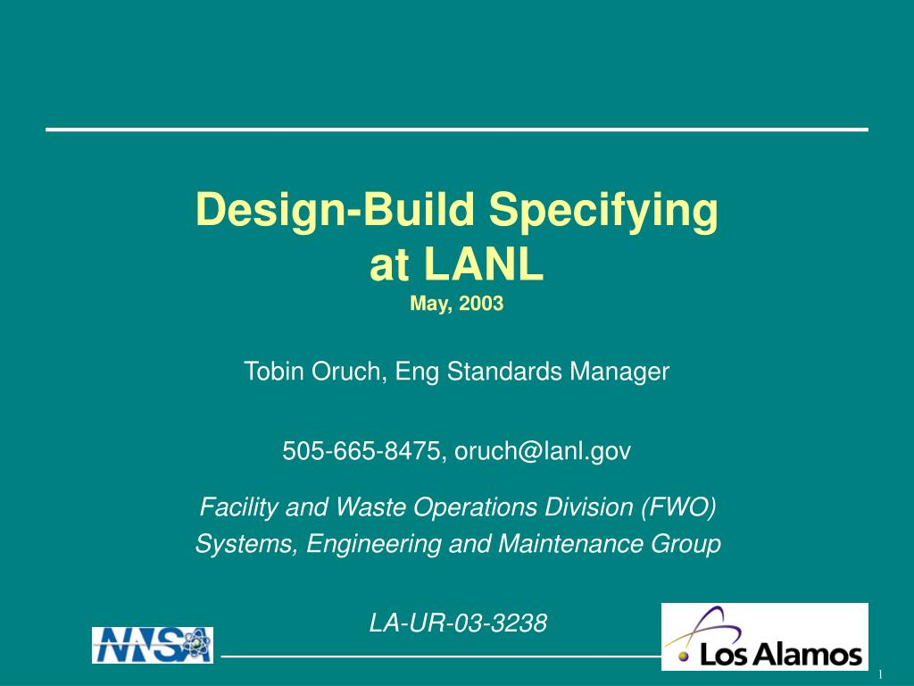 design build specifying at lanl may 2003 l.