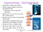 important groups alkali earth metals