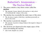 rutherford s interpretation the nuclear model