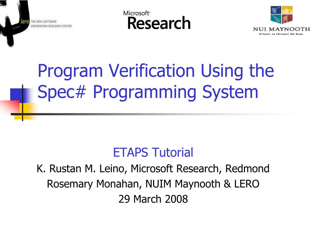 program verification using the spec programming system l.