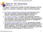 spec an overview