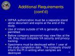 additional requirements cont d