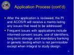 application process cont d