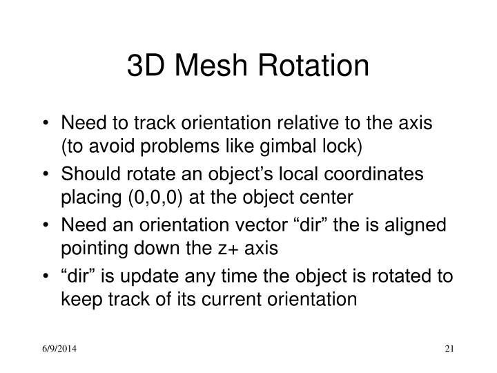 3D Mesh Rotation