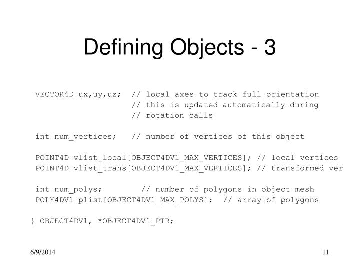 Defining Objects - 3