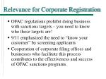 relevance for corporate registration
