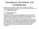 consistency soundness and completeness