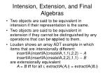 intension extension and final algebras