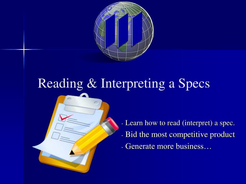 reading interpreting a specs l.