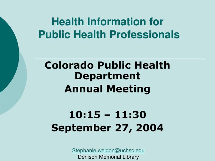 health information for public health professionals n.
