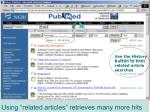 using related articles retrieves many more hits