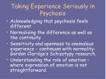 taking experience seriously in psychosis