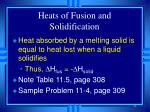 heats of fusion and solidification44