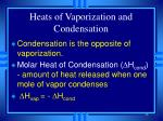 heats of vaporization and condensation46