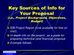 key sources of info for your proposal i e project background objectives budget