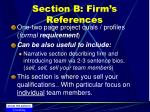 section b firm s references
