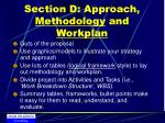 section d approach methodology and workplan