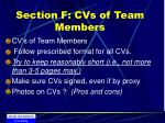 section f cvs of team members