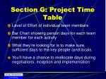 section g project time table