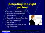 selecting the right partner