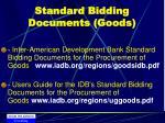 standard bidding documents goods