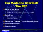 you made the shortlist the rfp