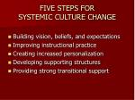 five steps for systemic culture change