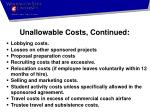unallowable costs continued