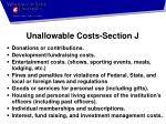 unallowable costs section j