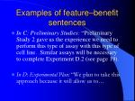 examples of feature benefit sentences