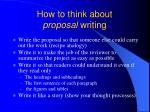 how to think about proposal writing