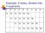 example 6 tasks divided into 4 segments