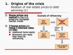 origins of the crisis relation of real estate prices to debt servicing 1