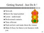 getting started just do it