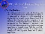 fpu alu and rotating registers cont30