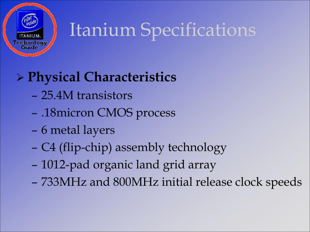 Itanium Specifications