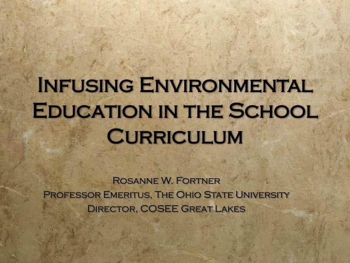 infusing environmental education in the school curriculum n.