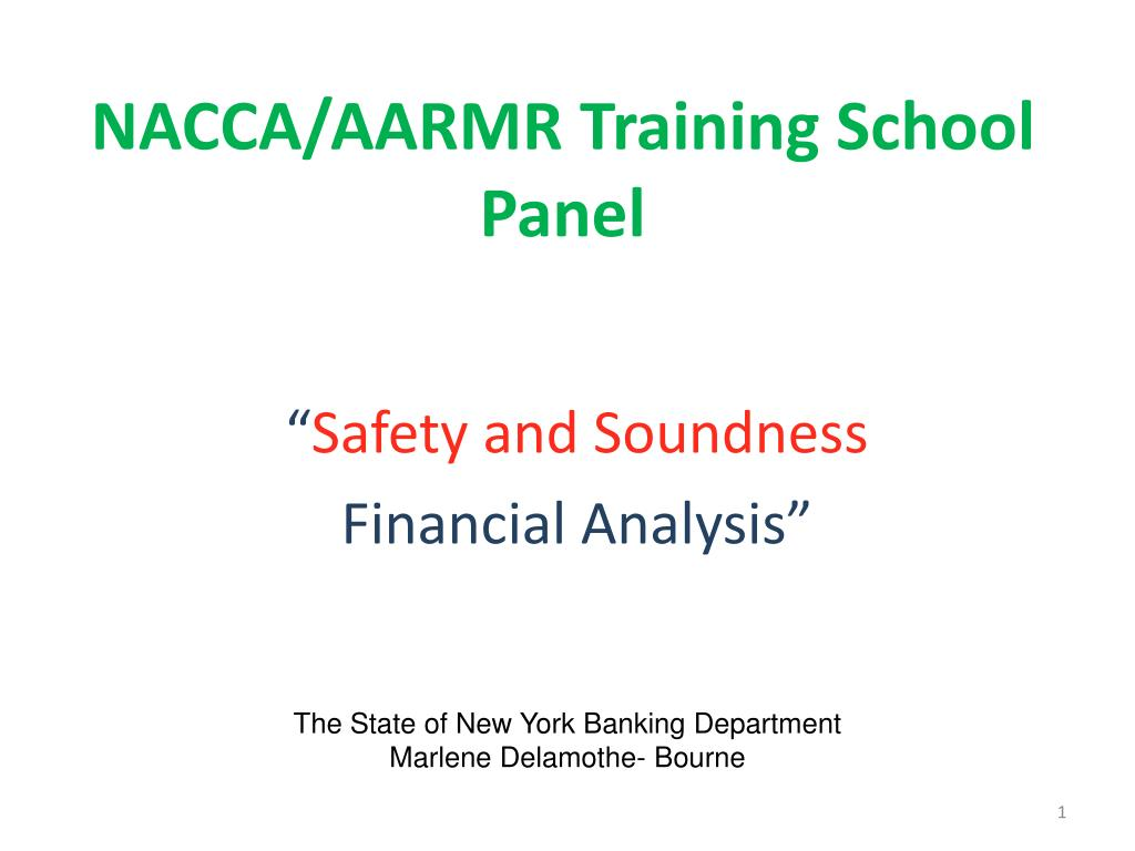 safety and soundness financial analysis l.