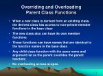 overriding and overloading parent class functions