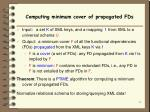 computing minimum cover of propagated fds