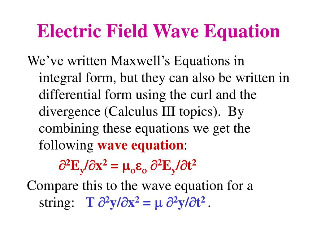 Electric Field Wave Equation