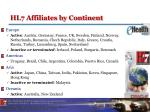 hl7 affiliates by continent
